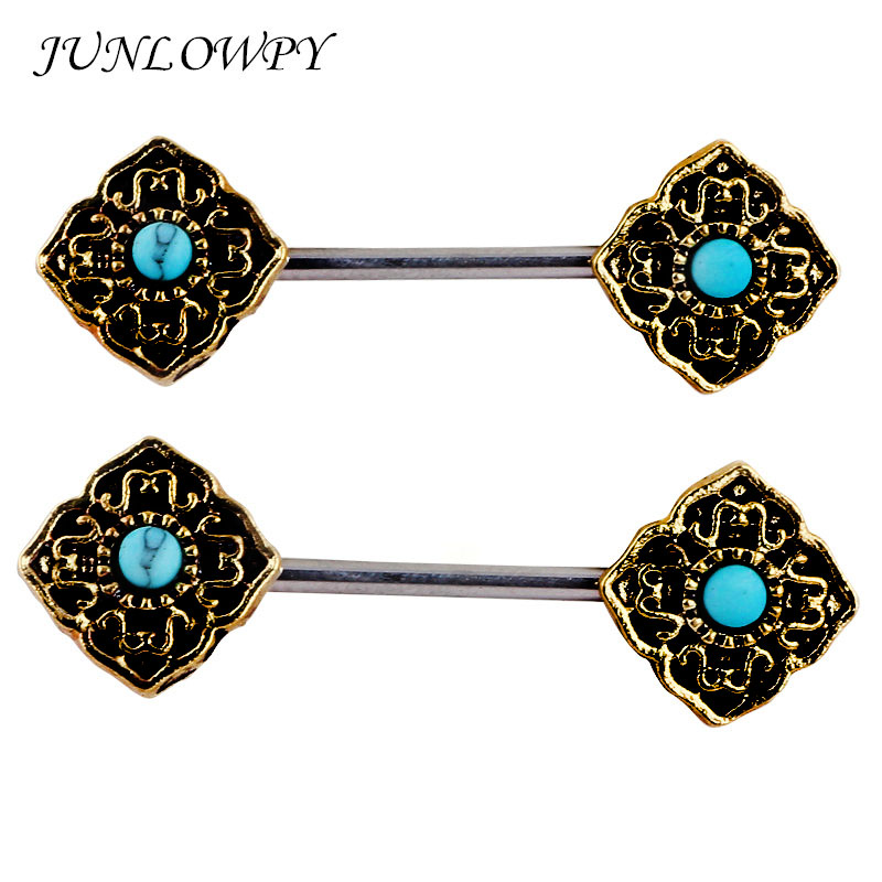 Junlowpy 2Piece 14Gx16Mm Punk Rock Double Nipple Shield -6468