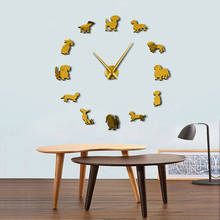 DIY Wall Art Wiener-Dog Frameless Giant Wall Clock With Mirror Effect