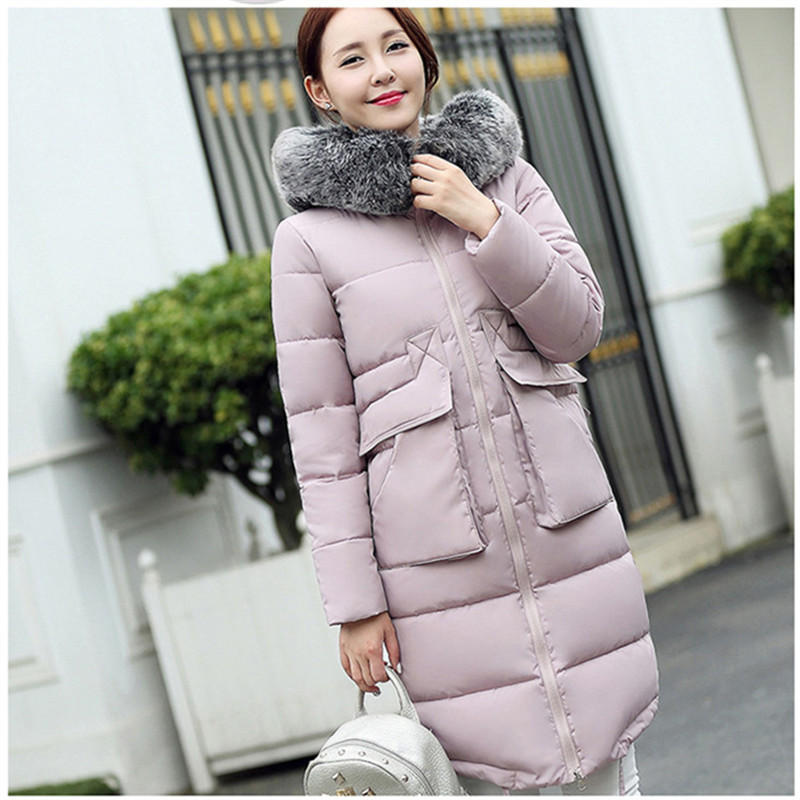 2016 women coats full sleeve zipper thick cotton down pockets winter fashion warm coat