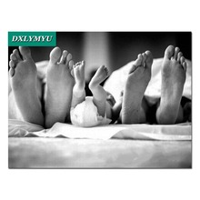 3D DIY Diamond Painting black and white Family Look Feets Square Full Embroidery Mosaic Cross Stitch House Decor
