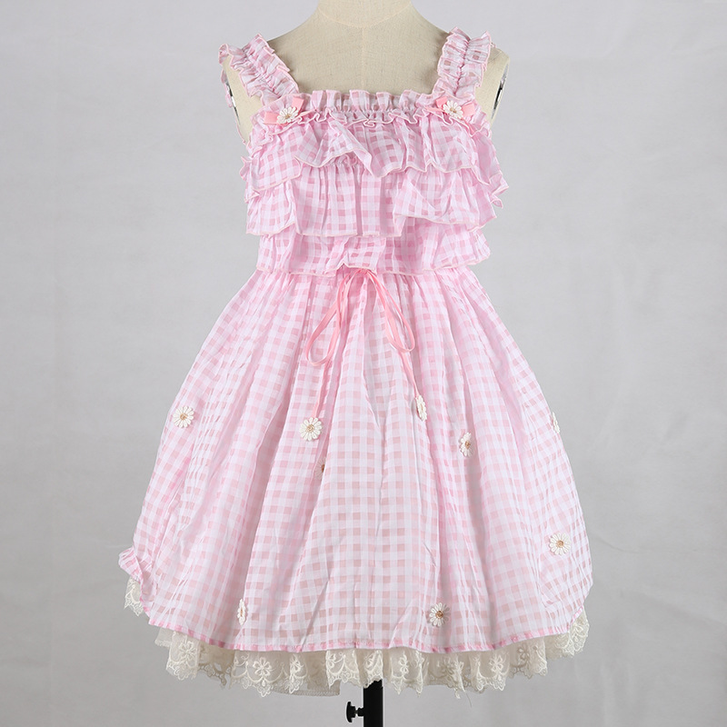 Free Rushed New Shipping 2019 Japanese Grid Is Pure And Fresh Sweet Pink Dress Lolita Bowknot Recreational Skirt Joker