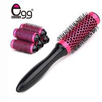 Round Brush Barber Hair Comb Ceramic Hair Brush Aluminum Salon Tools 6 Rollers Hair Brush 35mm Detachable Head Hair Brush Set