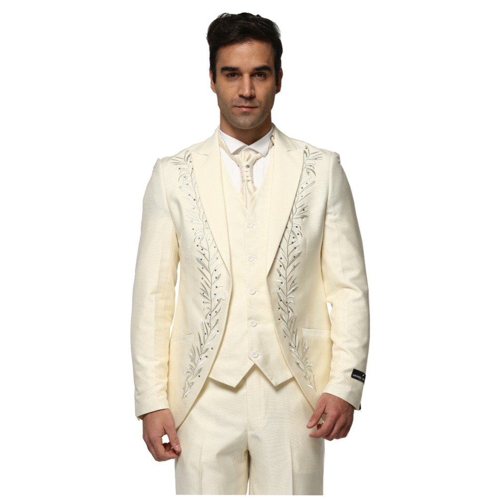 2017 beige ivory groom tuxedos embroidery rhinestone mens for Mens ivory dress shirt wedding