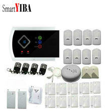SmartYIBA Russian Spanish French Voice Wireless Wired GSM SMS Home Security Alarm System Gas Smoke Fire
