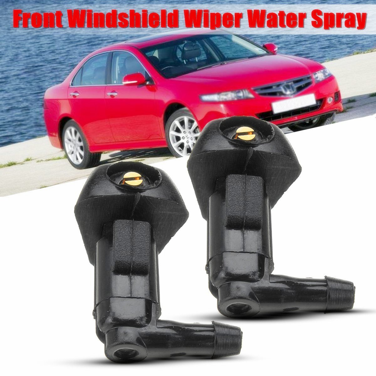2pcs car windshield wiper water spray jet washer nozzle for honda