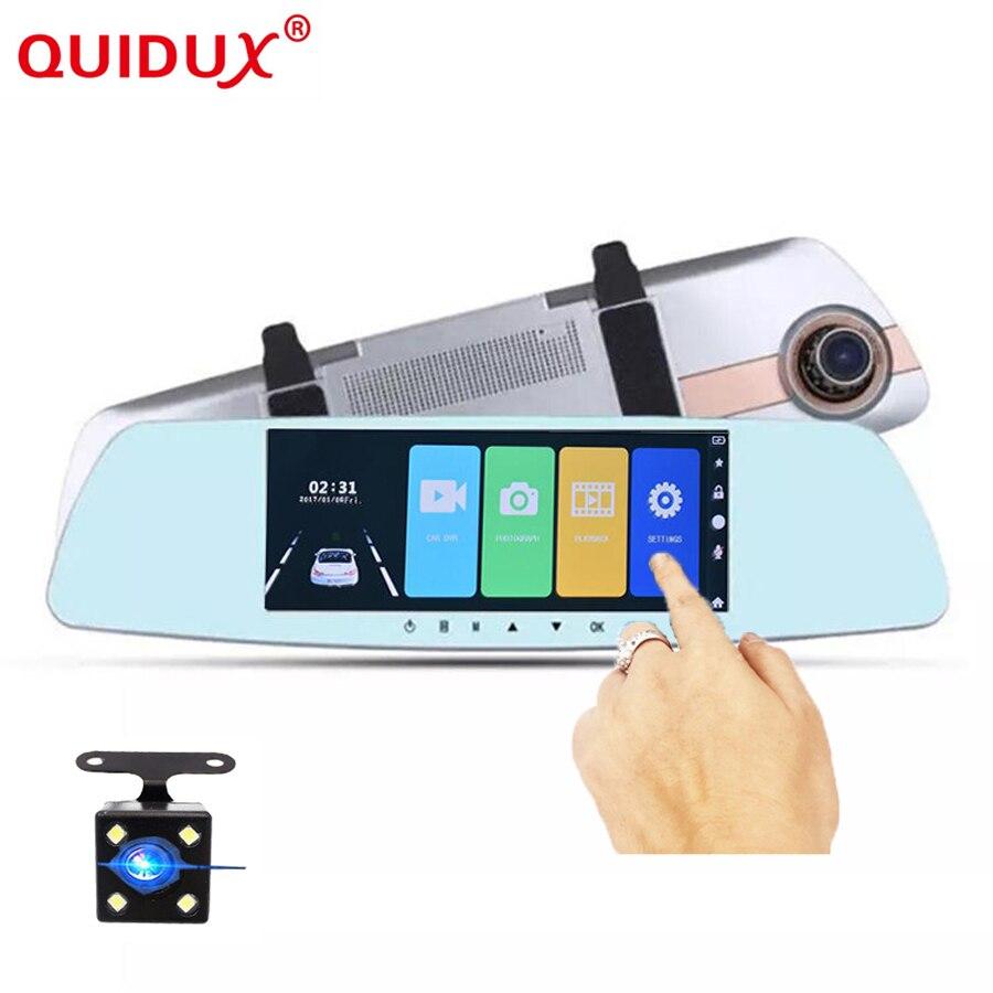 QUIDUX 7.0 pouces voiture DVR double lentille écran tactile rétroviseur enregistreur vidéo DashCam moniteur de stationnement Vision nocturne Full HD 1080 P