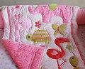Rosa Sarafi animales Polka Dots baby Girl cuna camas vivero cuna juego de cuna kit set Applique 3D edredón Bumpers hoja falda manta