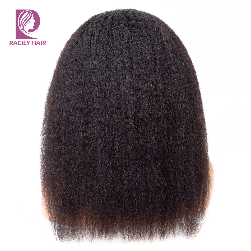 Racily Hair 4x4 Kinky Straight Lace Closure Wig Lace Closure Human Hair Wigs For Black Women Remy Afro Pre Plucked Brazilian Wig