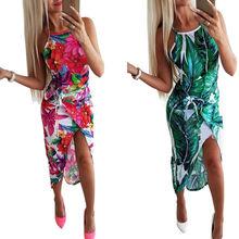 Womens Boho Floral Maxi Dress Fashion Asymmetrical Party Beach Sundress