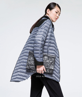 MISUN marca down jacket 2017 mujeres asimétrica longitud botones personalizados cuello abajo de la capa de retazos de lana delgada luz MIDQ-V374