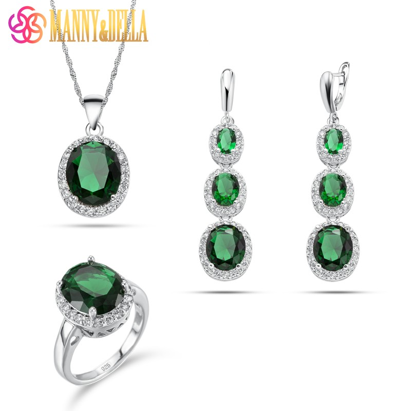 2018 New Arrival Manny&Della Fashion Sets Green Long Earrings Pendant Necklace Ring 925 Sterling Silver Women Jewelry Sets