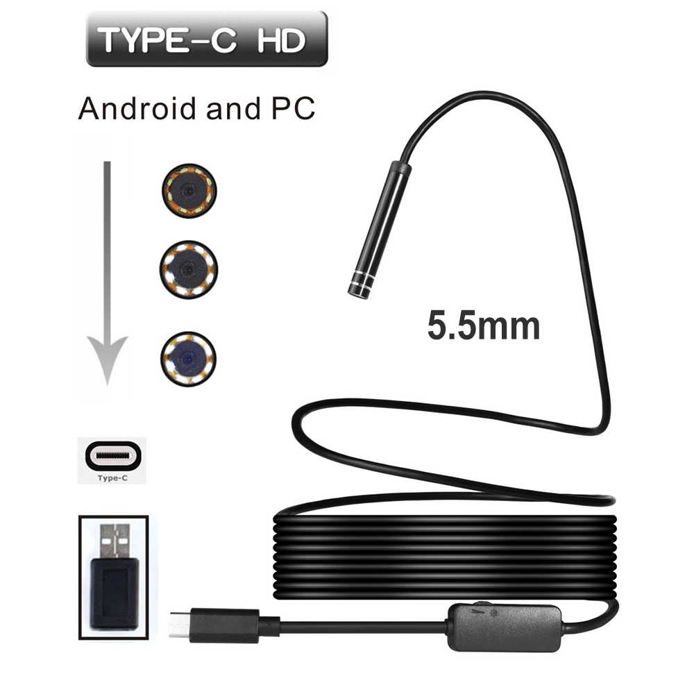 5.5mm 6LED USB TYPE-C Android Endoscope Inspection Camera Snake Flexible Borescope Camera For Android PC  1M/3M/5M/7M/10M Cable