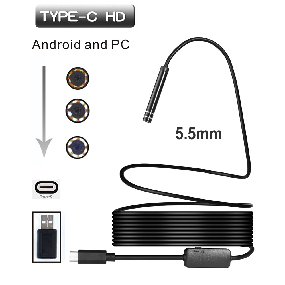 5.5mm 6LED USB TYPE-C Android Endoscope Inspection Camera Snake Flexible Borescope Camera For Android PC  1M/3M/5M/7M/10M Cable 1m 2m 3 5m 5m ios android wifi endoscope 8mm lens 6 led waterproof borescope inspection camera snake tube pipe mini camera