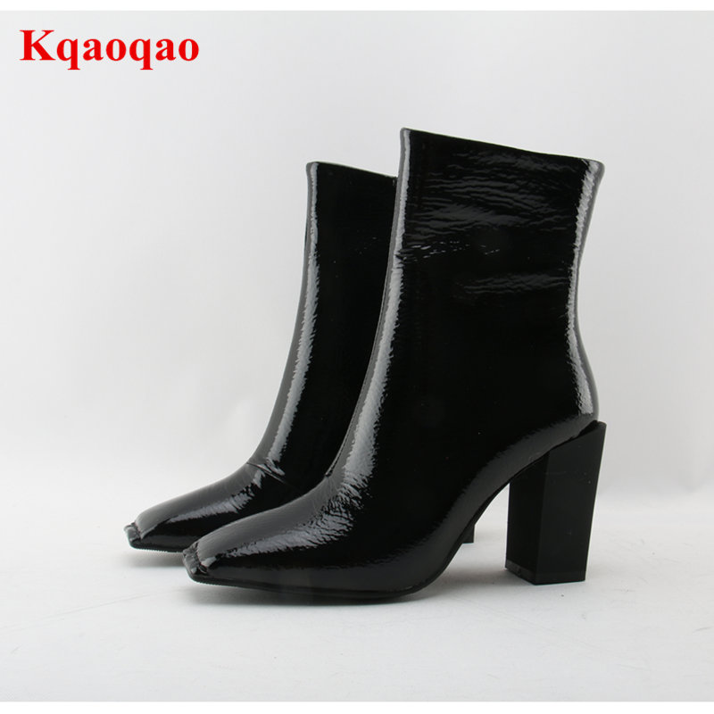 Hot New Square Toe Women Ankle Boots Black Patent Leather Short Booties High Heel Side Zip Luxury Brand Super Star Runway Shoes round toe women boots mixed color short booties luxury brand women cool runway fashion star high heel boots buckle shoes botas