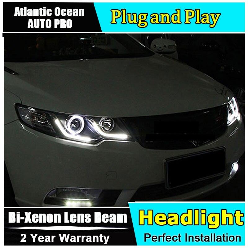 head lamp Car Styling for Kia Forte Headlights 2009 2014 Cerato LED Head light DRL Lens