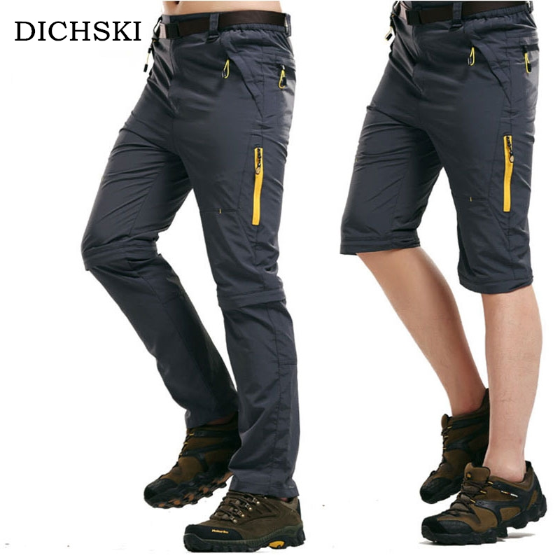 DICHSKI Summer Camping Men's Outdoor Two-piece Detachable Breathable Hiking Pants Fishing Ride Pants Sports Quick-drying Shorts