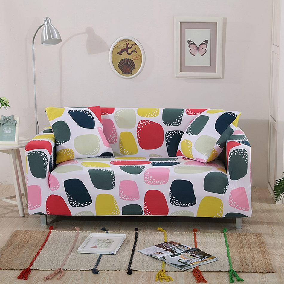 Colorful Checked Pattern Sofa Cover 100% Polyester For Sofa Decoration Machine  Washable Design For Single