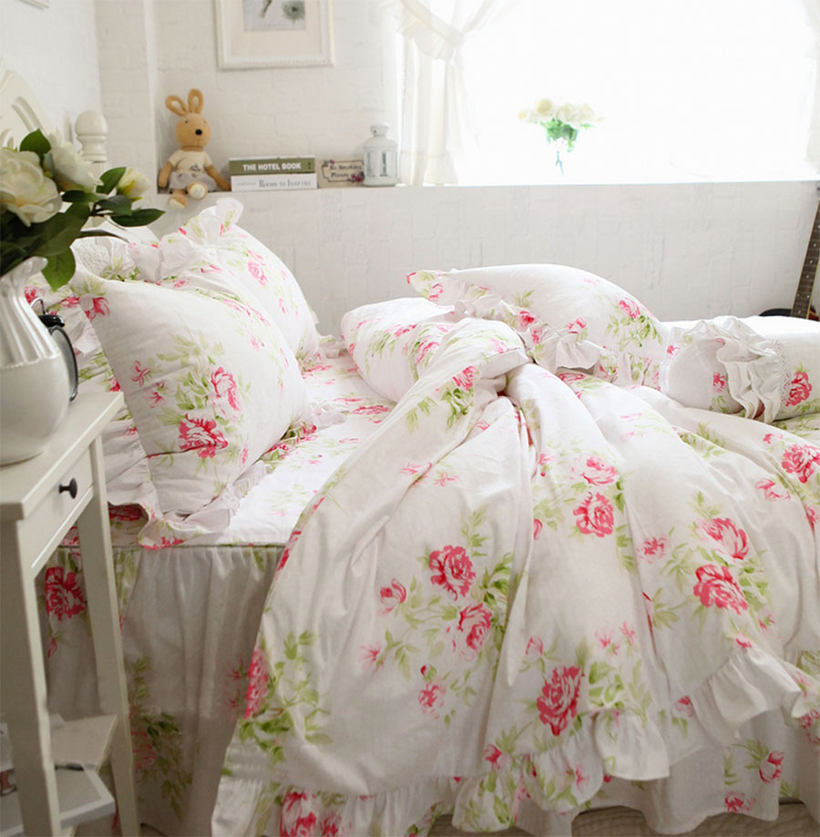 Pink Rose Princess Bed Set Twin Full King Queen American
