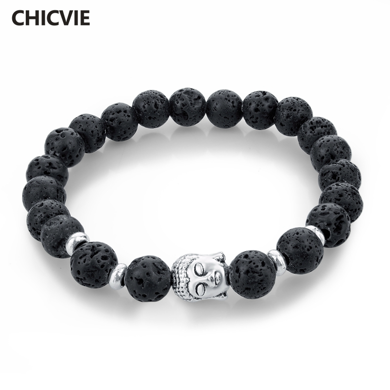 CHICVIE Natural Stone Bead Buddha Bracelets for Women Men Silver Black Lava Love Jewelry With Stones
