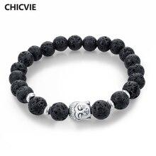 Chicvie натуральный камень шарик будды браслеты для женщин мужчин silver black lava любовь ювелирные изделия с камнями femme