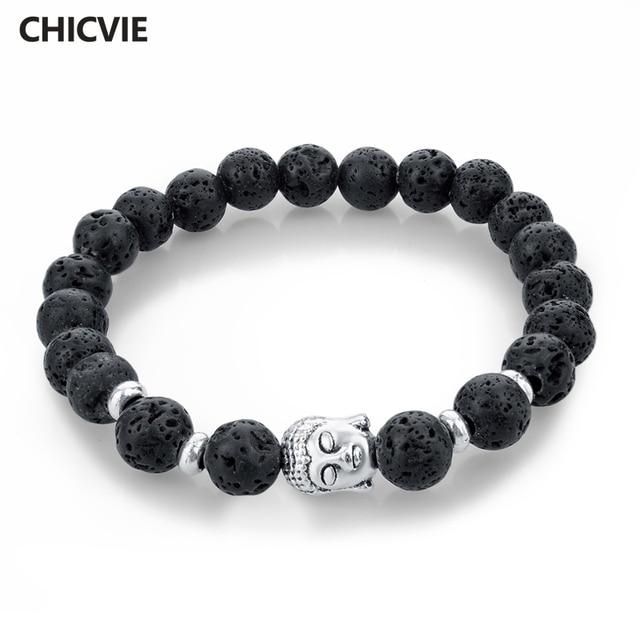 fc382732fda2 Chicvie Piedra Natural Buda pulseras para Mujeres Hombres plata negro lava  amor joyería con Piedras Femme