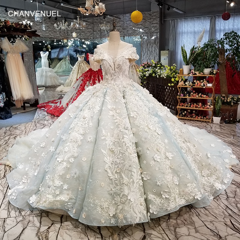 LS05000 puffy pleat ball gown evening dress o-neck lace up see-through back formal party dress with long train 2018 new design