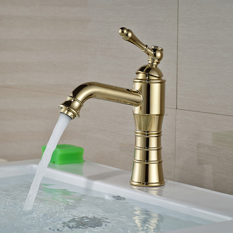 Golden Brass Hot and Cold Basin Sink Faucet Short Single Lever Bathroom Mixer Water Taps antique brass and golden bathroom washing basin faucet single handle brass short vanity sink mixer taps