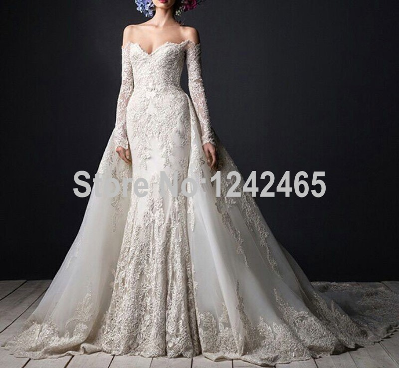 Buy mermaid sweetheart long sleeve muslim for Detachable train wedding dress
