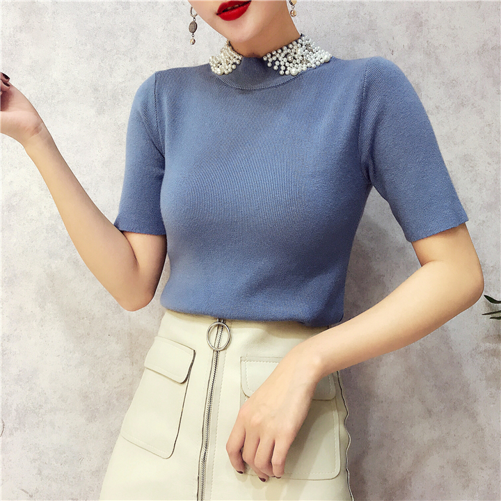 ALPHALMODA 18 Summer Ladies Short-sleeved Pearl Collar Pullovers Casual Slim Knit Sweater Women Studded Fashion Jumpers 13