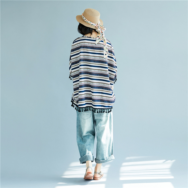 Batwing Sleeve Tassel Cotton & Linen Striped T-Shirts Summer Plus Size Casual Loose Tops Womens Lagenlook Baggy T-Shirt Tee 3