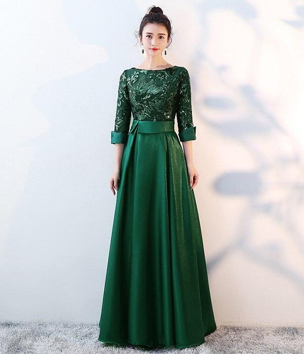 DEERVEADO ТРАПЕЦИЕВИДНОЕ Золотое вечернее платье с блестками, длинное вечернее платье для выпускного вечера, вечернее платье, вечернее платье, женское элегантное платье M254 - Цвет: Зеленый