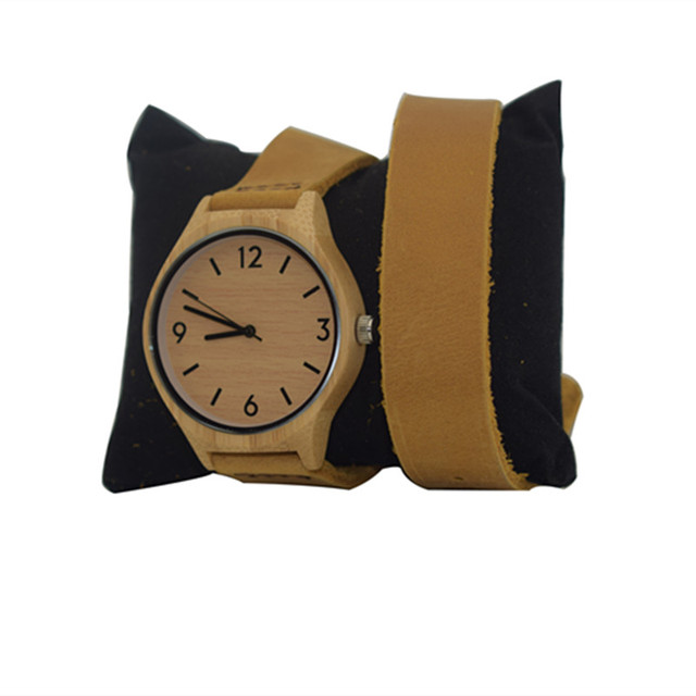 Newest Fashion Womens Leather Bamboo Wooden Watches With Long Geunine Leather Watchbands Best Gifts For Girl Friends | Fotoflaco.net