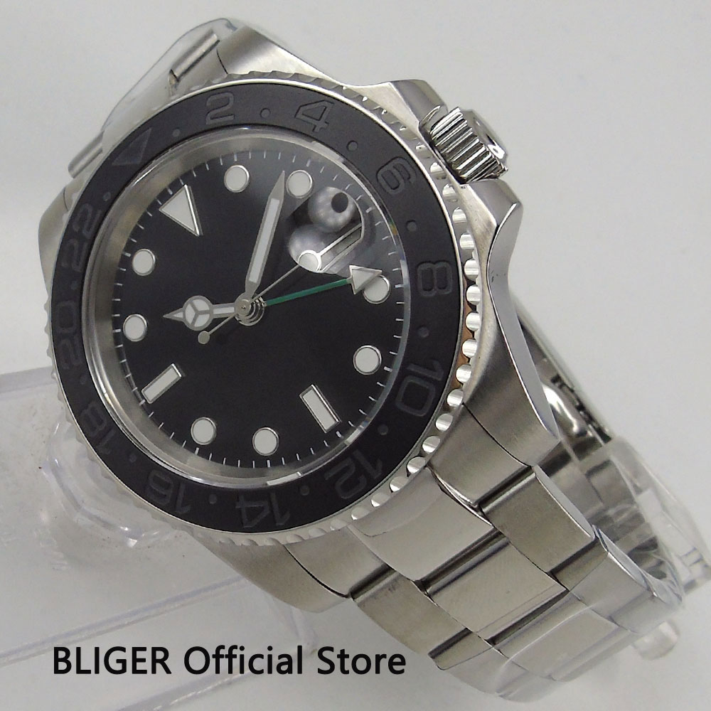 Solid BLIGER 40MM Black Sterile Dial Luminous Marks Ceramic Bezel GMT Function Sapphire Glass Automatic Movement Men's Watch solid bliger 40mm white sterile dial blue ceramic bezel gmt function luminous hand date clcok automatic movement men s watch b51
