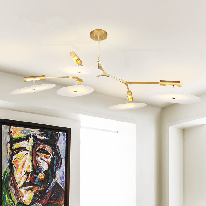Gold Pendant Lights Deco Hanging Lighting Fixtures Modern Lindsey Gold LED Pendant Lamp Plate Spinning Pendant