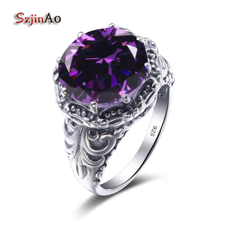 Szjinao Round Vintage Jewelry Design Silver Ring Wedding 925 Sterling Silver Amethyst Luxury Brand Rings for WomenSzjinao Round Vintage Jewelry Design Silver Ring Wedding 925 Sterling Silver Amethyst Luxury Brand Rings for Women