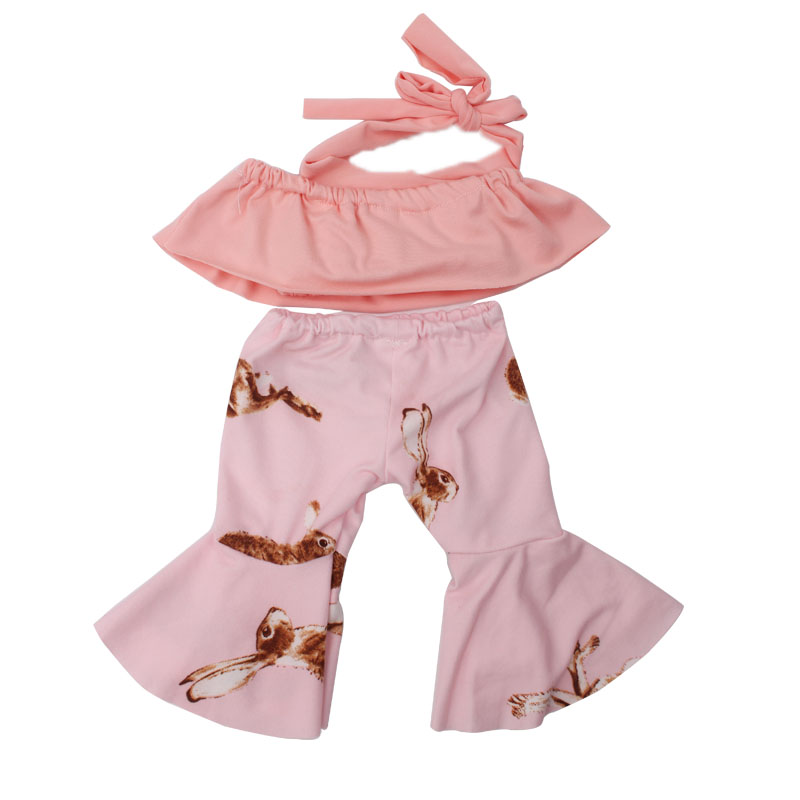43 cm baby doll Clothes bell bottom pantsuit baby toys Dress Hair band fit American 18 inch Girls doll f715 in Dolls Accessories from Toys Hobbies