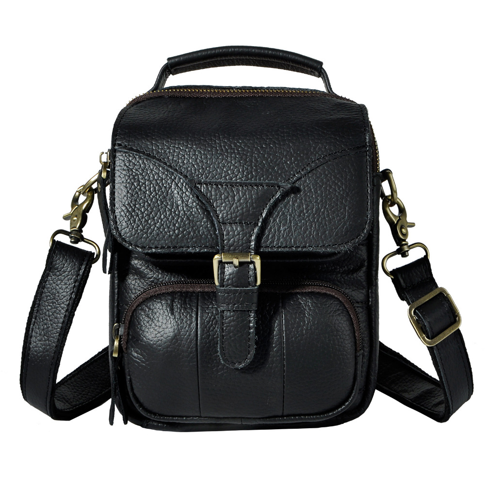 Leather Men Multifunction Casual Fashion Shoulder Messenger Crossbody Bag Design Male Waist Belt Pack Tote 8