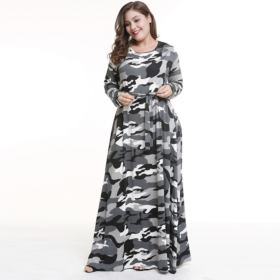 big size autumn winter dress women long sleeve camouflage elegant dress plus size maxi dress women clothes