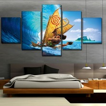 5 Panel Canvas Print Movie Moana Maui Waialiki Poster Sea Surfing Painting For Living Room Wall Art Decor Picture Modern Artwork