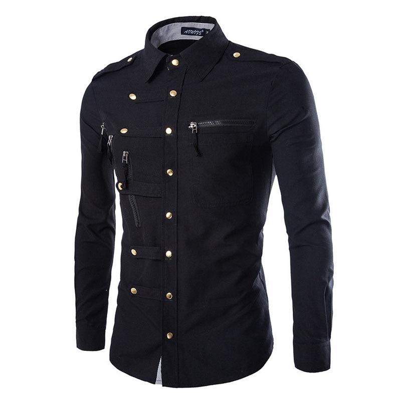 Großhandel 2019 Mode Lässig Slim Fit Herrschsüchtige Männer Langarm-shirt Taste Mehr Komplexe Smoking Bräutigam Kleid Shirts Männer Feine Verarbeitung