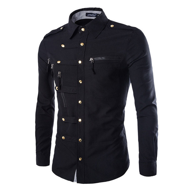 ee708e63 Wholesale 2019 Fashion Casual Slim Fit Domineering men's long sleeve shirt  button more complex Tuxedo groom dress shirts men