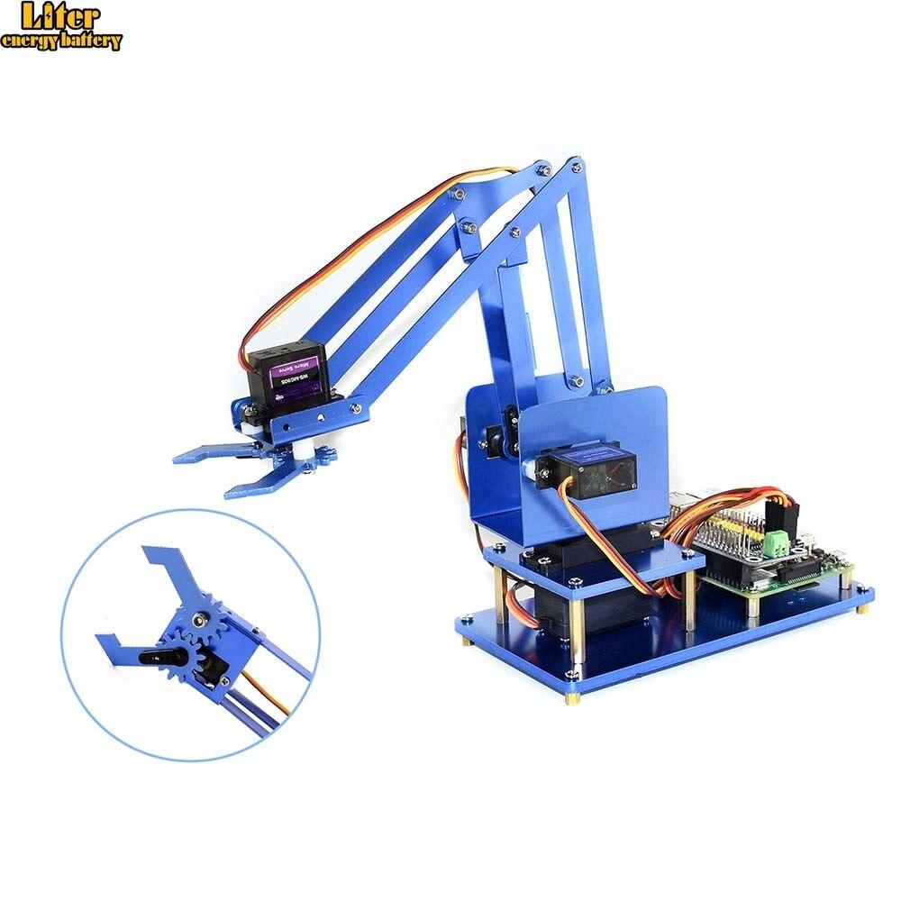 4-DOF Metal Robot Arm Kit For Raspberry Pi, Bluetooth / WiFi Remote Control