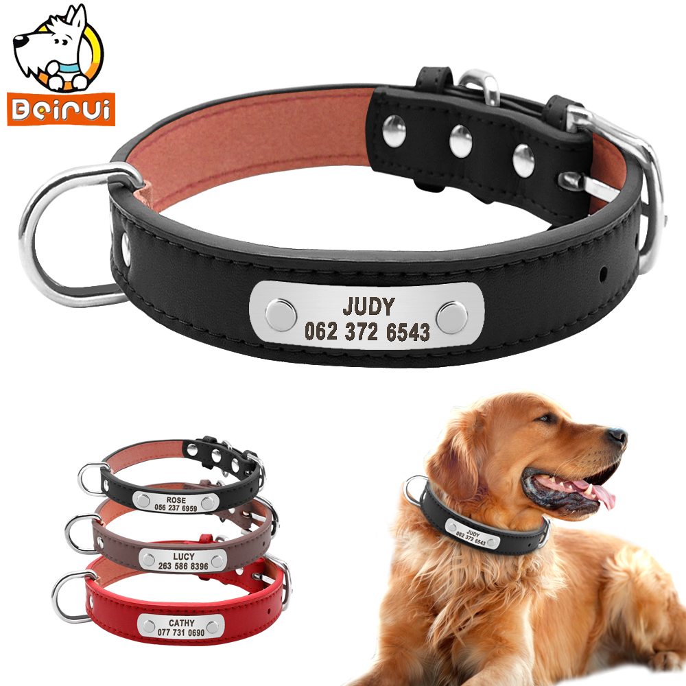 Beirui PU Leather Dog Collar Durable Padded Pet ID