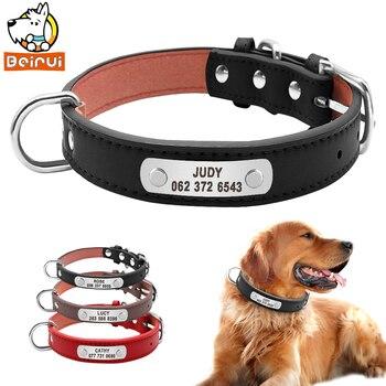 Cuero de PU cuello de perro duradero acolchado personalizado Identificación de mascotas personalizado para perros pequeños medianos grandes gato rojo negro marrón