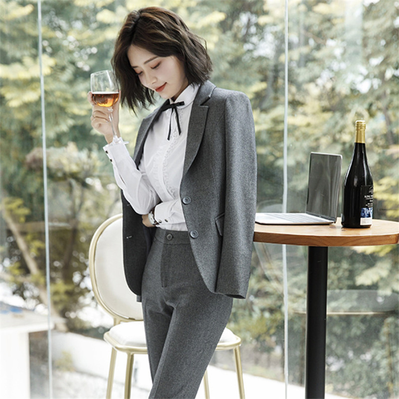 Work Fashion Pant Suits 2 Piece Set for Women singel Breasted solid color Blazer Jacket&Trouser Office Lady Suit Feminino 2