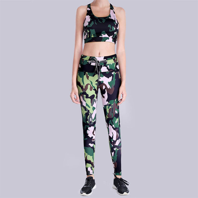 6f4ee0de72746 US $17.14 |PROBRA Printed Women Yoga Set Splice Running Set Bra+Leggings  Sports Suit Vintage Sports Clothing Gym Tracksuit -in Yoga Sets from Sports  & ...