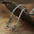 Vintage Thai Silver 2mm manual Peace pattern Chain Necklace Fashion Authentic 925 Sterling Silver Necklace Women Men Jewelry