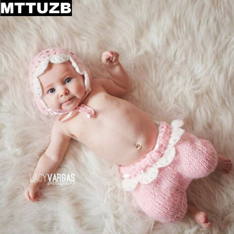 MTTUZB New handmade newborn cute pink hat pants set photo props infant Crochet outfits baby girls knitted hats Photography Props newborn crochet baby costume photography props knitting baby hat bow infant baby photo props newborn baby girls cute outfits