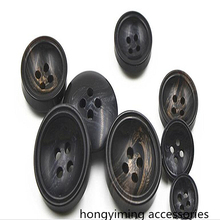1LOT=5pcs Four-holes high-grade resin buttons DIY sewing accessories black suit formal wear coat windbreaker fashion buckle