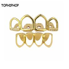 Новая позолоченная гриля в стиле хип хоп с 4 зубами буровой